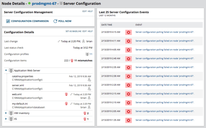 screenshot de SCM la solution de gestion de configuration de solarwinds